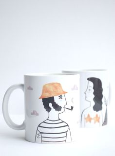 Pack de dos tazas de cerámicaAmor Marino: Marinero y Sirena Puedes…