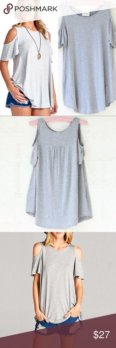 """Cold Shoulder Bohemian Casual Gray Top ❤️ BUNDLES  ❤️ DISCOUNTS  ❌ NO TRADES  ❌ NO Low balling!   • NWT • • For accurate color please look at pictures with watermark or the one on the right on cove photo •  * MEASUREMENTS: - All measurements taken with garment laying flat. • Size: S - Length: 27.75"""" Approximately - Bust: 34.5"""" Approximately • • Size: M  - Length: 28.5"""" Approximately - Bust: 40"""" 37 Approximately • • Size: L  - Length: 29.5"""" Approximately - Bust: 40""""  * MATERIAL: - 95% Rayon…"""