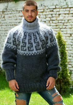 Mohair Sweater, Men Sweater, Hand Knitting, Scandinavian, Turtle Neck, Sweaters, Fashion, Moda, Fashion Styles