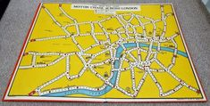 Vintage Motor Chase Across London Map Board Game - Geographia London Map, Traditional Games, 1930s, Board Games, Boards, Vintage, Ebay, Planks, Tabletop Games