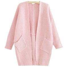 LUCLUC Pink Pockets Loose Cardigan (€15) ❤ liked on Polyvore featuring tops, cardigans, pocket tops, loose cardigan, cut loose tops, loose fit tops and pink cardigan