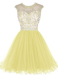 Tideclothes Short Beading Prom Dress Tulle Evening Dress Hollow Back Yellow US18Plus Tideclothes