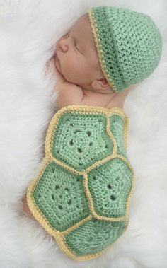 turtle diaper cover and crochet beanie