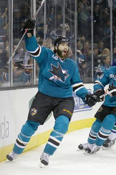 San Jose Sharks forward Brent Burns is fired up after scoring a second period goal (Oct. 3, 2013).
