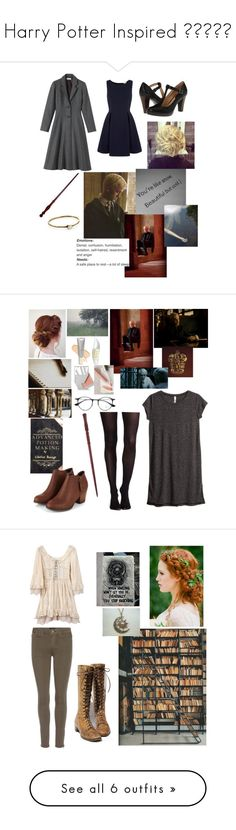 """""""Harry Potter Inspired 😉✍🏻📚📕"""" by mrs-panarin ❤ liked on Polyvore featuring Toast, Frye, Yumi, LowLuv, Physicians Formula, Kjaer Weis, Ilia, H&M, Ray-Ban and SPANX"""