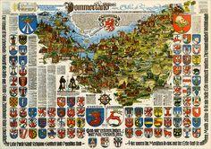 Pommerland Pommern Pomerania Pomorze Landkarte Wappen mapa i herby