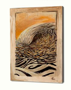 Three to the Left Rustic - An Abstracted Surf Art Painting by Jay Alders