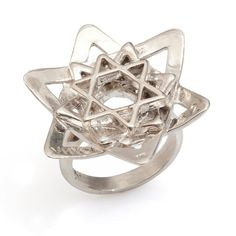 Women's Flower Silver Ring With 3 Stars of David - Kabbalah Style - Handmade per Order