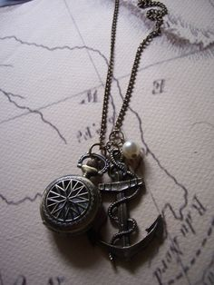 steampunk pirate nautical pocket watch compass charm by 1luckysoul, $31.00
