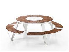 Tavolo da picnic rotondo con panchine integrate PANTAGRUEL by Extremis   design Dirk Wynants
