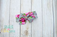 Pink & Grey Rose Garden Headwrap-Big Bow Baby by SweetELLAgance