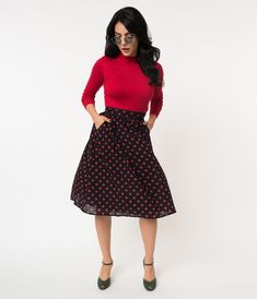 4f79c7af3b35 Retro Style Navy & Red Polka Dot Cotton High Waist Flare Skirt
