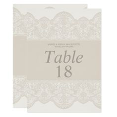 Elegant Beige Lace Table Number Cards - lace gifts style diy unique special ideas