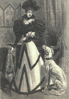 z- Borzoi w Woman & 'Pocket Dog' (Fr Fashion Plate), 1894