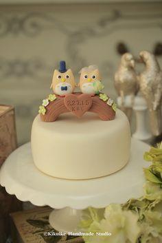 Owls with wood bridge Wedding Cake Topper