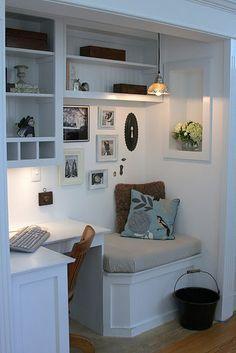 Spare closet as a home office