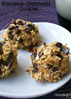 3 ingredient Banana Oatmeal Cookies are made without egg or oil!  You will love this healthy cookie and so will your kids!  This is a keeper! soccer snack ideas for kids #soccer #kids #recipe