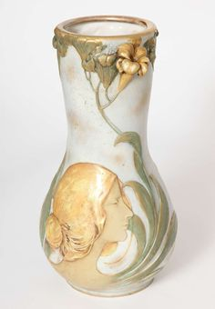 Art Nouveau Amphora Blow-Out Portrait Vase, Austria, 1900 | From a unique collection of antique and modern vases at https://www.1stdibs.com/furniture/dining-entertaining/vases/