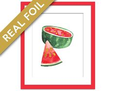 Gold Foil Watermelon Art Print - Food Poster - Real Foil Kitchen Wall Art Print - Gold Food Art - Gift for Chef - Tropical Fruit Art