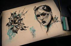 https://www.facebook.com/crescentattoo #neo #traditional #tattoo #design #flash #devil #rose #pastel #mint