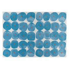 TASH Large blue patterned wool rug 170 x 240cm