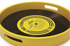Black and yellow tray made from a recycled vinyl record. Vinyl Record Projects, Vinyl Record Art, Vinyl Art, Vinyl Records, Old Records, Vinyl Crafts, Diy And Crafts, Cassette Tape Crafts, Band Rooms