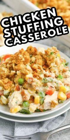 Easy Casserole Recipes, Easy Dinner Recipes, Crockpot Recipes, Cooking Recipes, Healthy Recipes, Fall Recipes, Chicken Stuffing Casserole, Chicken With Stuffing, Recipe For Chicken Casserole