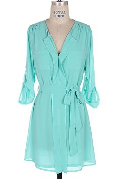 Ashley Shirt Tunic in Mint Turquoise | Awesome Selection of Chic Fashion Jewelry | Emma Stine Limited
