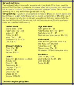 This is a helpful guide if you are wondering what you should price items at your garage sale.   www.nulifesurgery.com