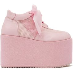 Y.R.U. Qozmo Glitter Platforms - Pink ($73) ❤ liked on Polyvore featuring shoes, sneakers, pink, round cap, platform shoes, platform lace up shoes, lace up sneakers and flatform shoes