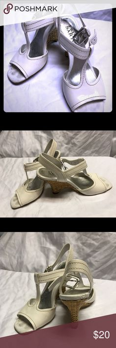 Summer is around the corner sandals White patent leather Franco Sarto wedge sandals. Size 5. Good shape Franco Sarto Shoes Wedges