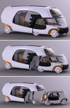 The new vehicle design by Christian Susana is a nice combination of car and a caravan camper. Christian has called it Colim (Colors of Life in Motion), which might not win many points on looks department, but still is quite useful given the kind of flexibility it offers. Colim caravan concept provides the advantage of detaching the front part if one does not have a usage for the home part.