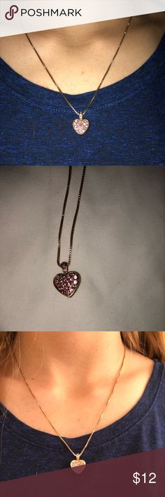 Heart necklace 20 inch gold heart necklace with pink rhinestones Jewelry Necklaces
