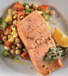 ... salmon with yogurt chimichurri tomato corn salad more tomato corn