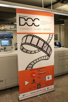 Retractable Banner for @DOC_BC, Canada's largest professional non-profit association of independent filmmakers.