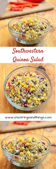 Southwestern Quinoa Salad is a side dish made of quinoa grains, black beans, corn, bell peppers and lime dressing. Bursting with southwestern flavors, it's delicious as it's nutritious. Lime Quinoa, Quinoa Salad, Lentil Salad, Healthy Side Dishes, Side Dish Recipes, Healthy Sides, Salad Recipes, Vegan Recipes, Yummy Recipes