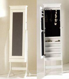 Espejo pared joyero madera blanco con puerta corredera for Espejo joyero xxl