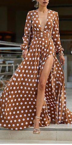 Eos maxi flowy wrap dress in polka dot This polka-dot maxi dress took my breath away Short Beach Dresses, Cheap Maxi Dresses, Polka Dot Maxi Dresses, Sexy Dresses, Beautiful Dresses, Fashion Dresses, Summer Dresses, Maxi Skirts, Dot Dress