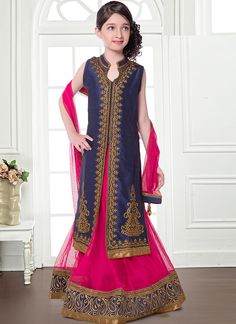 Grand Navy Blue And Pink Net Kids Wear Lehenga Choli