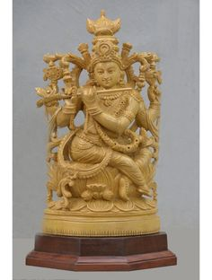Lord Krishna Plays Basuri Seated On Lotus,Wooden Krishna Playing Flute With Cow,Wax Brown wooden carvings purchase,krishna with flute and cow Wooden Brackets, Wooden Statues, Wooden Bird, Wood Wall Decor, Lord Krishna, Wooden Walls, Wood Carving, Flute, Wood Crafts