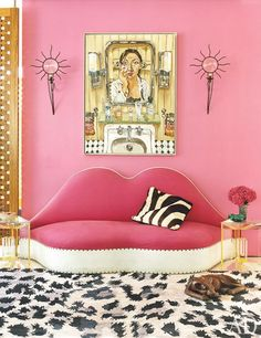 Diane von Furstenberg's NYC apartment. Above a vintage Salvador Dalí sofa is a Duong self-portrait; the sconces are by André Dubreuil, and the tables are by Alexandra von Furstenberg.