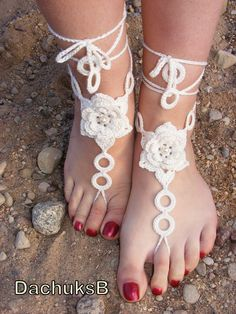 IVORY ROSES handmade beautiful barefoot sandals in ivory color with pearl beads. $15.00, via Etsy.