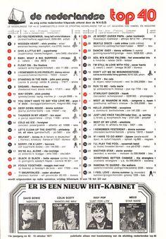De Nederlandse top 40 van veertig jaar geleden 80s Songs, Music Songs, Harris Wilson, Old Time Radio, History Timeline, Music Charts, Top 40, Ol Days, Good Ol