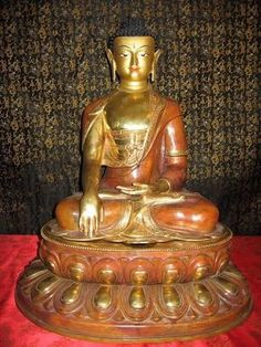 """22"""" Shakyamuni Buddha Gold Gilded Face Painted Copper Statue Tibetan Style Nepal"""