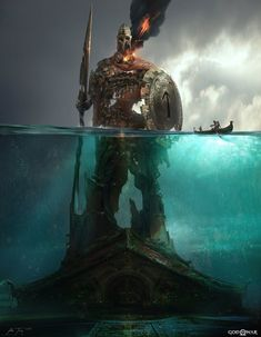 View an image titled 'Tyr Statue, Submerged Art' in our God of War art gallery featuring official character designs, concept art, and promo pictures. Kratos God Of War, Fantasy World, Dark Fantasy, Good Of War, Game Concept Art, Fantasy Setting, Norse Mythology, Fantasy Inspiration, Fantasy Landscape