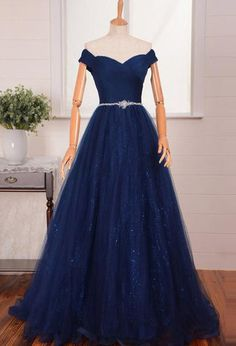 Blue Long A-line Off-the-Shoulder Beading Tulle Prom Dresses 2017
