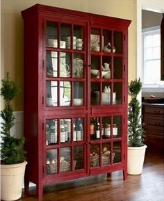 Want this but need storage not display. What is the best way to cover the glass cabinet doors? Rojo Tall Cabinet in Storage Cabinets Red Cabinets, Storage Cabinets, China Cabinets, Kitchen Storage, Display Cabinets, Pantry Storage, Kitchen Cupboard, Red Kitchen, Cupboards
