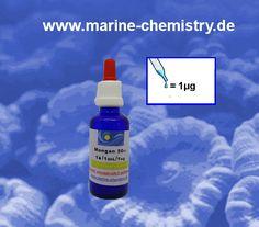 Essentielle Spurenelemente f. Riff Aquarien Mangan v. MC Marine Chemistry mit angegebender Wirkstoff Konzentration und Dosieranleitung.