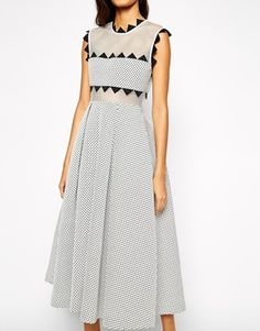 Enlarge Self Portrait Lucille Midi Dress In Sculpted Jacquard Portrait, Sculpting, Asos, Dresses For Work, My Style, Stuff To Buy, Fashion, Dress Work, Moda