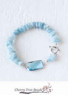 Aquamarine and Sky Blue Topaz Bracelet